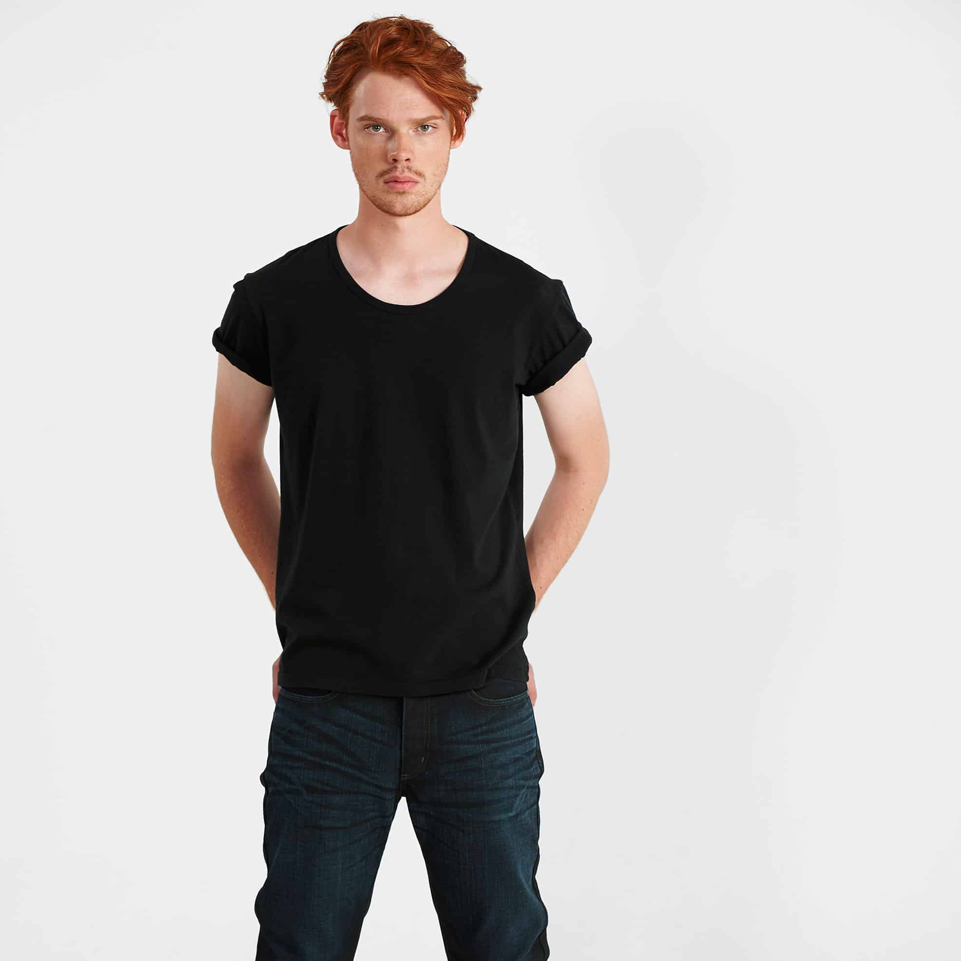 Vintage Laundry BAUER Tee – Black with ARLO Jean – Coated Indigo