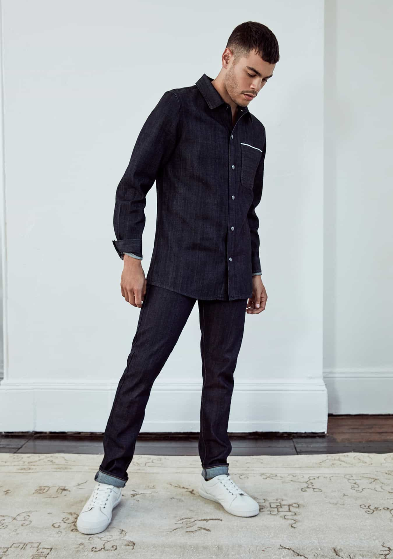 MAN: Sawyer Selvedge Shirt Dark Indigo (DSMSH9007.R.10) and Quinn Jean Dark Green Cast (DSMJ3001.S.5)