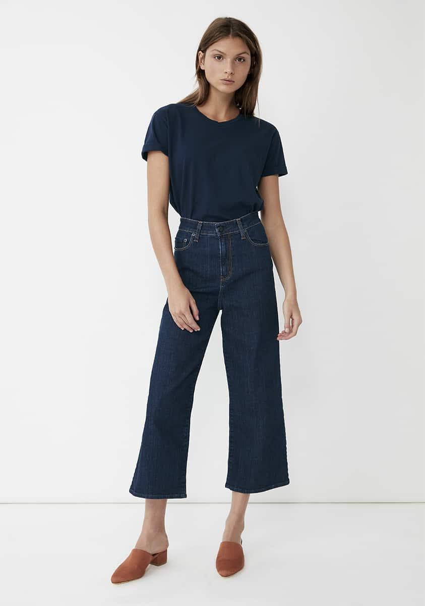 AUBREY Cropped Jean – Mid Indigo