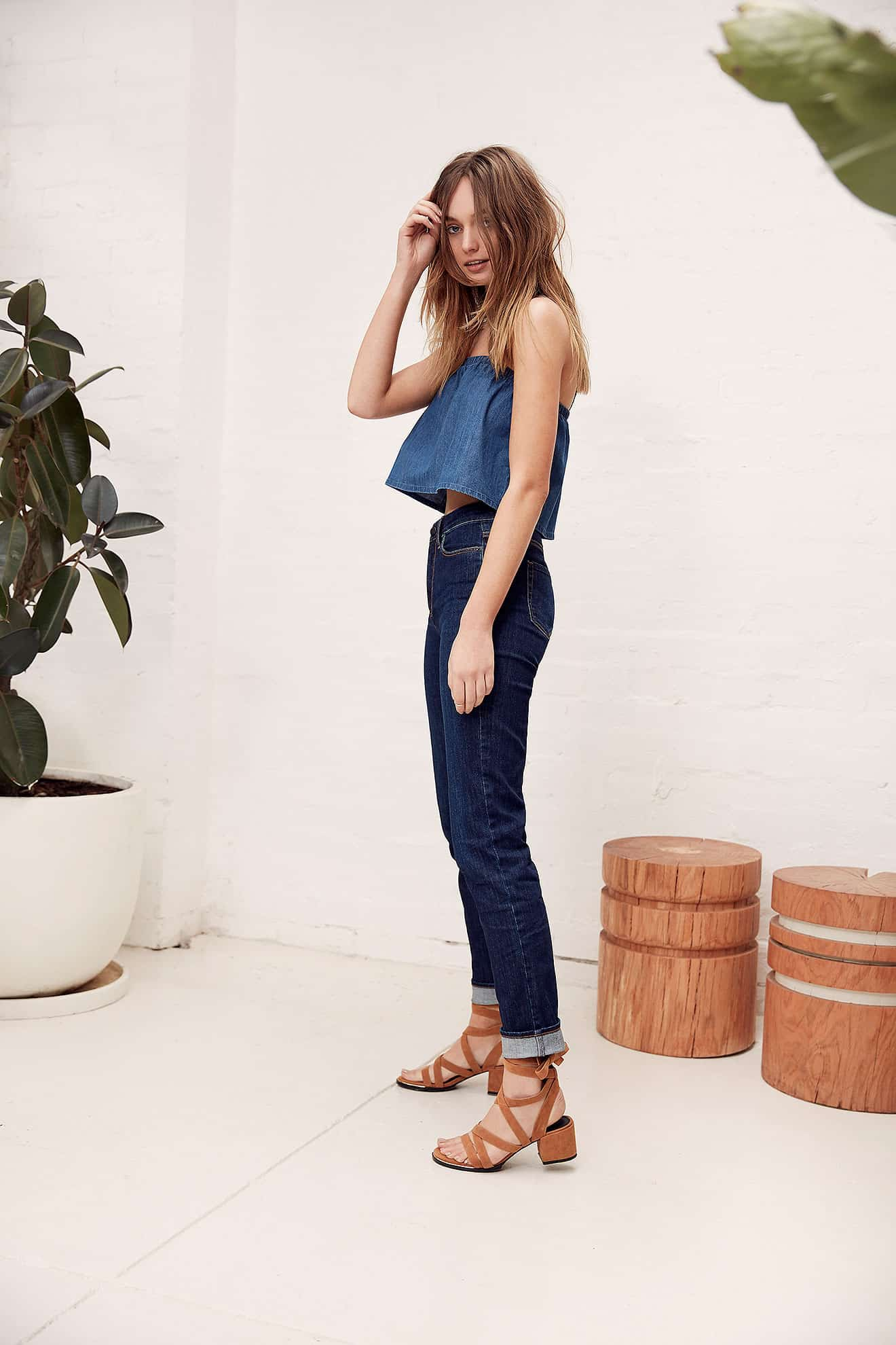WOMEN: The Tyler Crop Top (WTP24004.R.6) and Ryder Jean Mid Indigo (DSWJ8002.S.9)