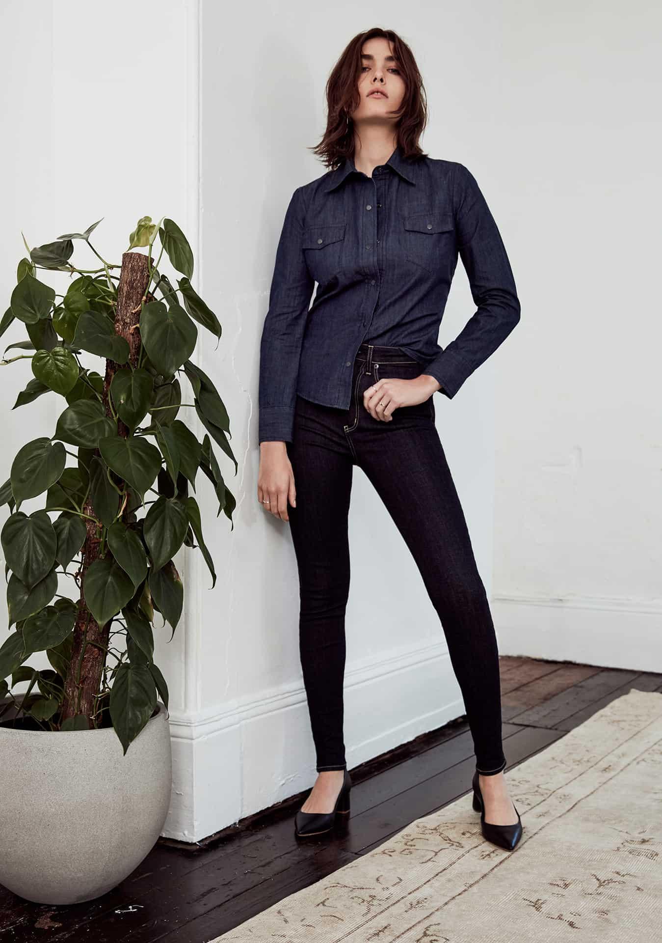 WOMEN: Drew Shirt Dark Indigo (WSH23002.R.10) and Alana Jean Dark Indigo (DSWJ5009.S.10)
