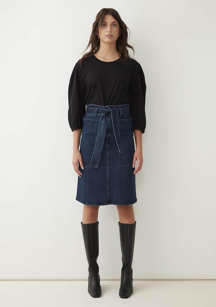 NIA Skirt-Mid Blue